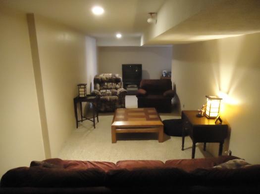 The basement family room.