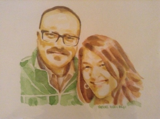 Watercolor of the wife and I that I gave her for Christmas. Painted by Shane Darin Page