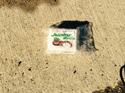 Found on the side of the road the morning after Halloween, wet and covered in road filth. Take heed.