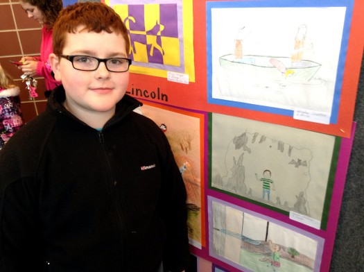 The boy with his work of art(middle pic)