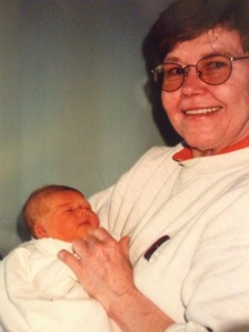 Judy with newborn Claire, May 2000