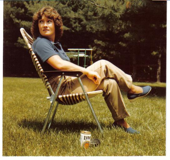 mom in backyard with Miller Lite