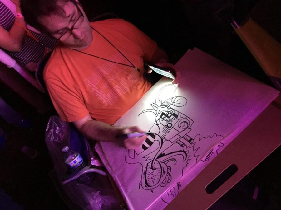 Frank Louis Allen drawing during the Flaming Lips' set at Middle Waves Festival, September 2016